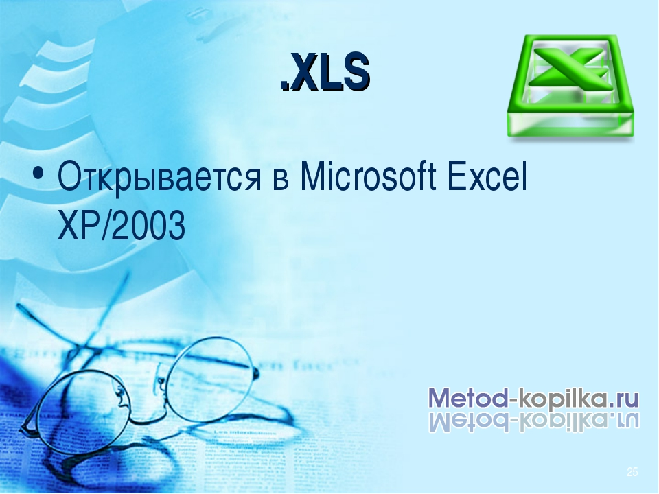 .XLS Открывается в Microsoft Excel XP/2003 *