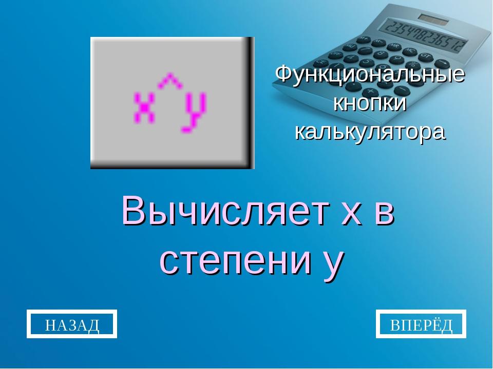 Функциональные кнопки калькулятора Вычисляет x в степени y НАЗАД ВПЕРЁД