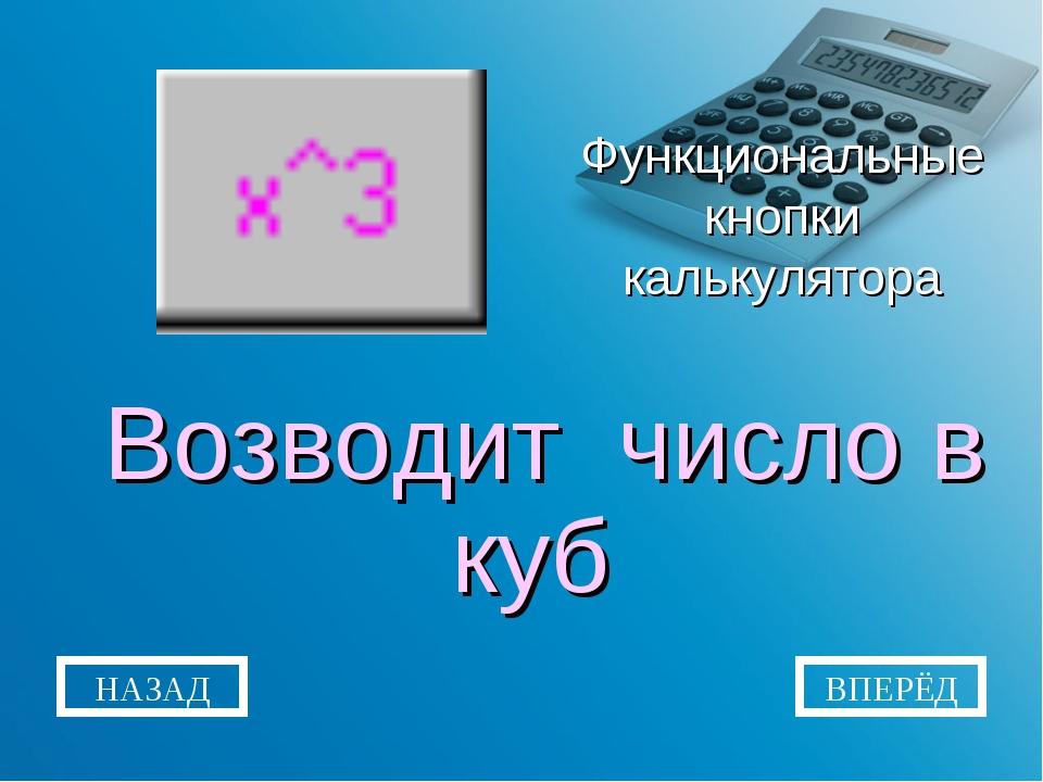 Функциональные кнопки калькулятора Возводит число в куб НАЗАД ВПЕРЁД