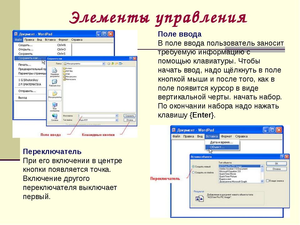 Элементы управления Поле ввода В поле ввода пользователь заносит требуемую ин...