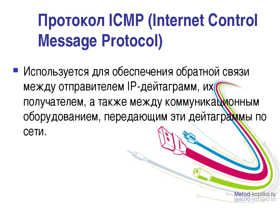 Протокол ICMP (Internet Control Message Protocol) Используется для обеспечени