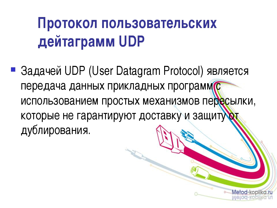 Протокол пользовательских дейтаграмм UDP Задачей UDP (User Datagram Protocol)