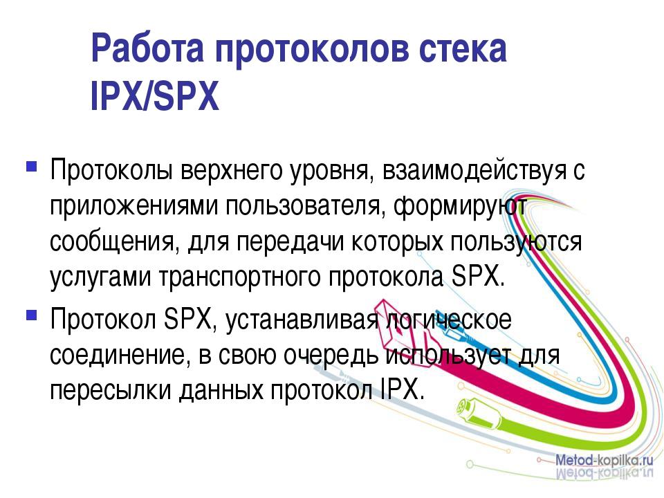 Работа протоколов стека IPX/SPX Протоколы верхнего уровня, взаимодействуя с п...