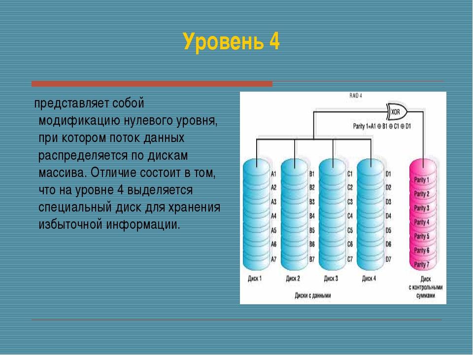 Уровень 4 представляет собой модификацию нулевого уровня, при котором поток д...