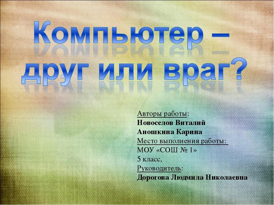 Авторы работы: Новоселов Виталий Аношкина Карина Место выполнения работы: МОУ...