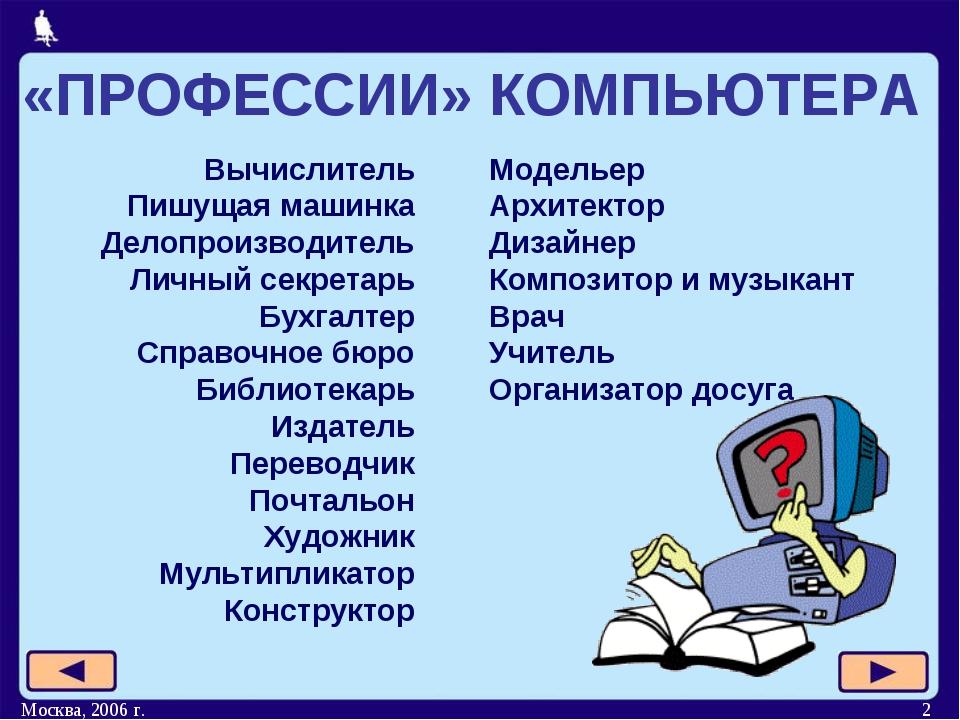 Москва, 2006 г. * Вычислитель Пишущая машинка Делопроизводитель Личный секрет...