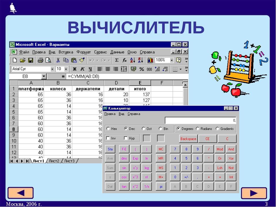Москва, 2006 г. * ВЫЧИСЛИТЕЛЬ Москва, 2006 г.