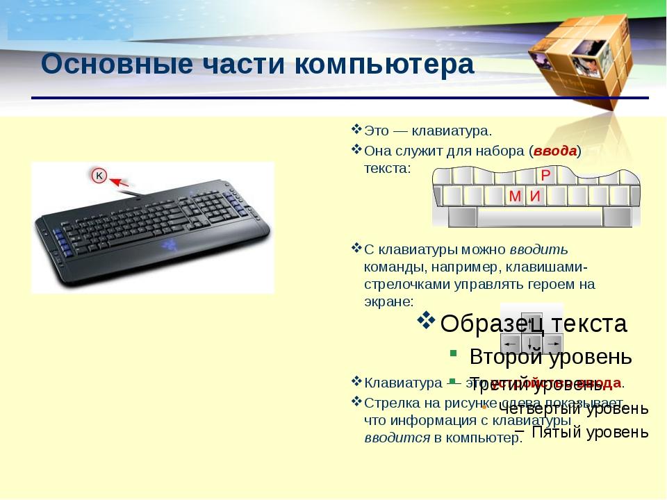 Это— клавиатура. Она служит для набора (ввода) текста: С клавиатуры можно вв...