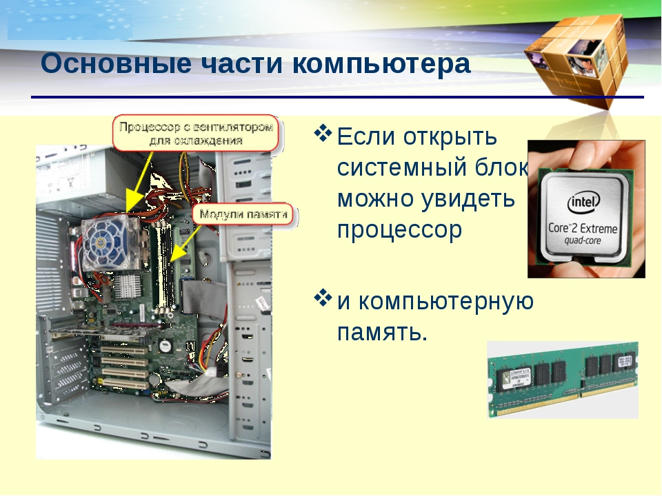 Если открыть системный блок, можно увидеть процессор и компьютерную память. О...