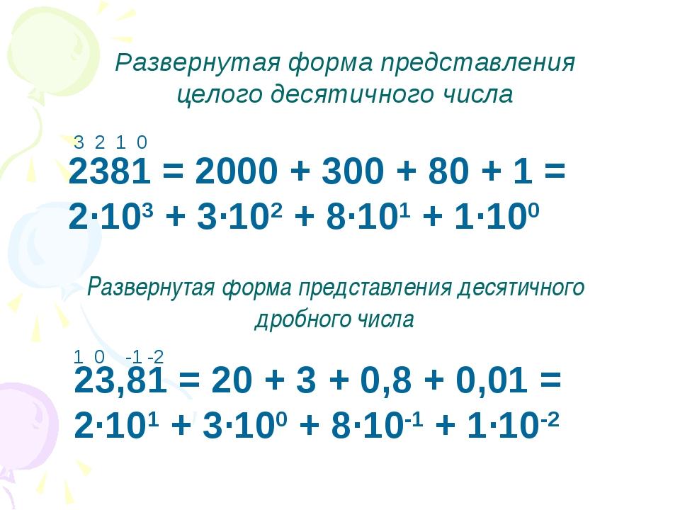 2381 = 2000 + 300 + 80 + 1 = 2·103 + 3·102 + 8·101 + 1·100 Развернутая форма...