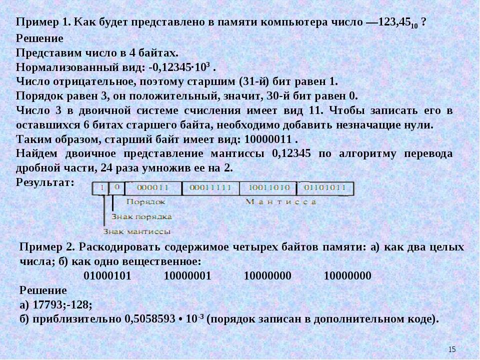 * Пример 1. Как будет представлено в памяти компьютера число —123,4510 ? Реше...