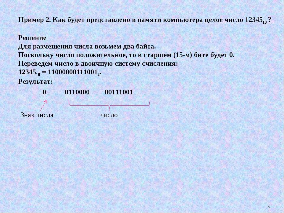 * Пример 2. Как будет представлено в памяти компьютера целое число 1234510 ?...