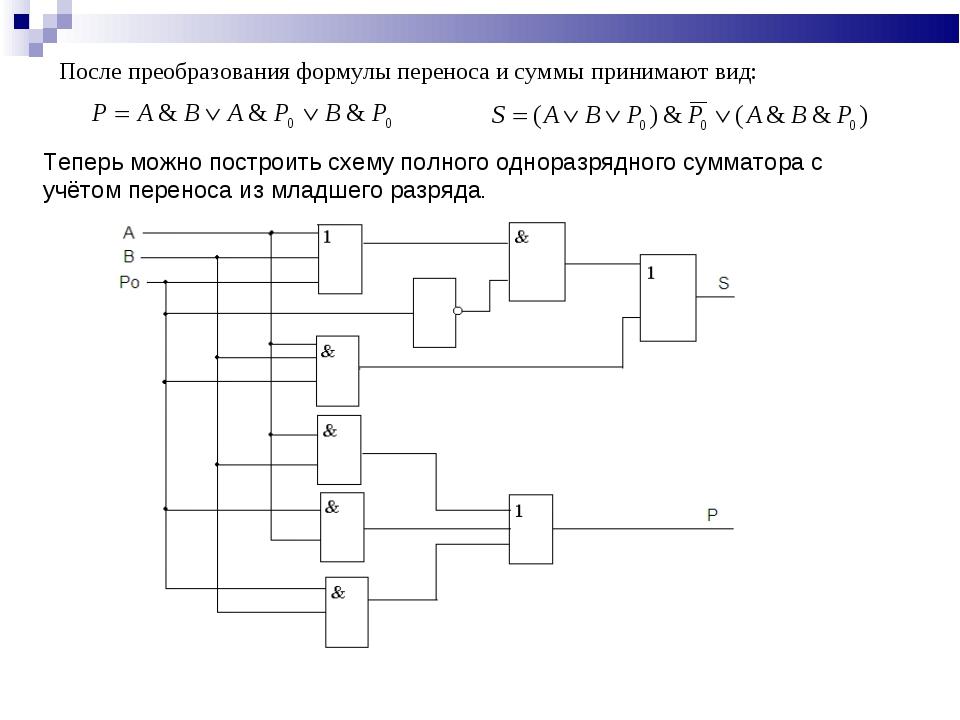 После преобразования формулы переноса и суммы принимают вид: Теперь можно пос...