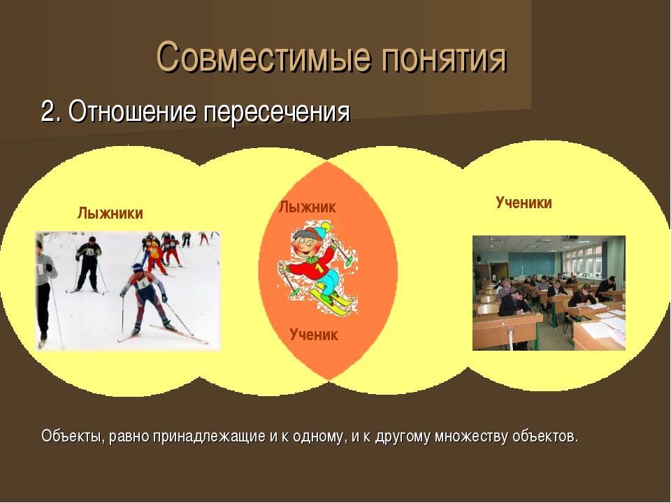 Совместимые понятия 2. Отношение пересечения 2. Отношение пересечения Объекты...