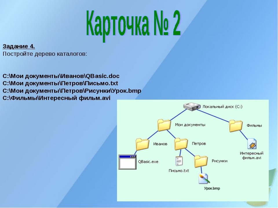 Задание 4. Постройте дерево каталогов: C:\Мои документы\Иванов\QBasic.doc C:\...