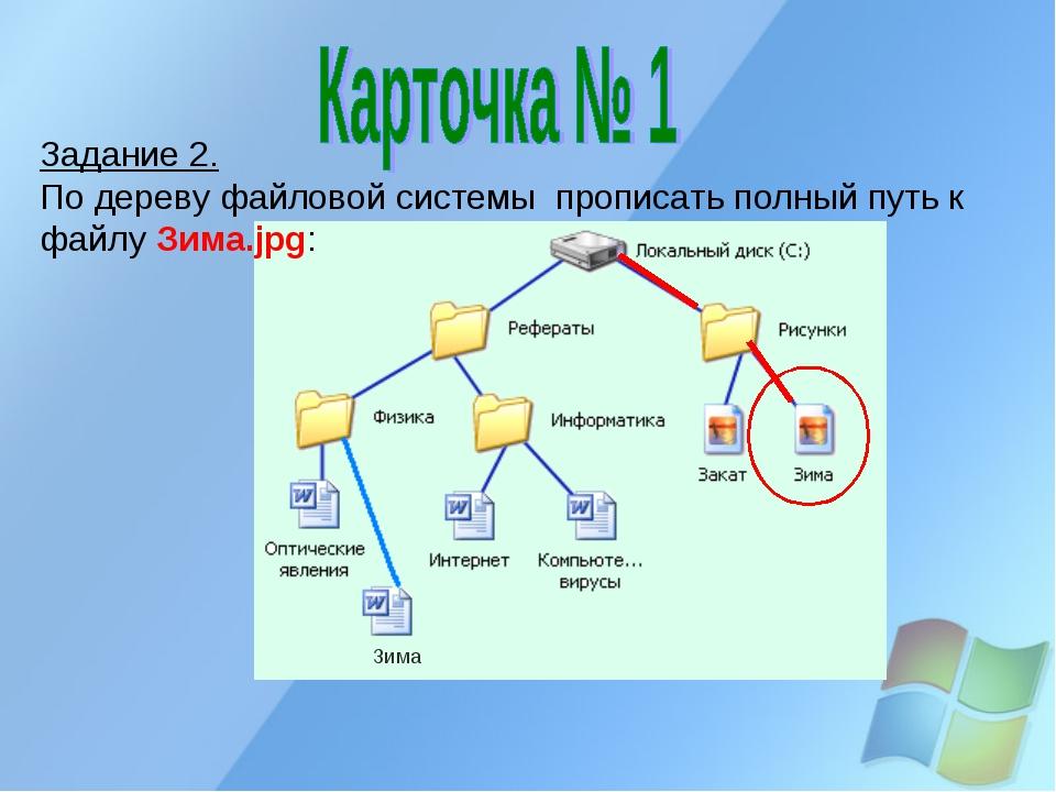 Задание 2. По дереву файловой системы прописать полный путь к файлу Зима.jpg:...