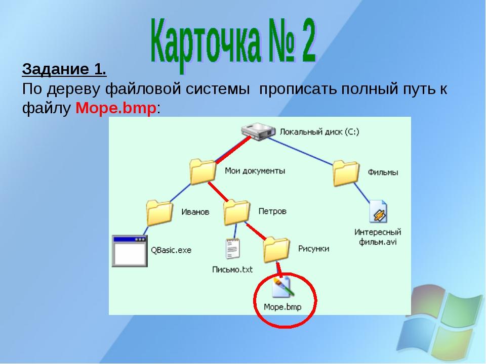 Задание 1. По дереву файловой системы прописать полный путь к файлу Море.bmp: