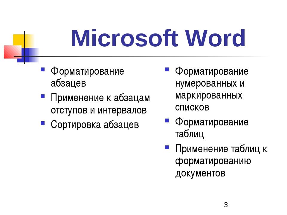 Microsoft Word Форматирование абзацев Применение к абзацам отступов и интерва...