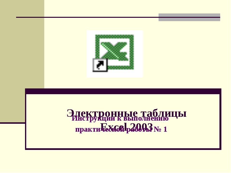 Электронные таблицы Excel 2003 Инструкции к выполнению практической работы № 1