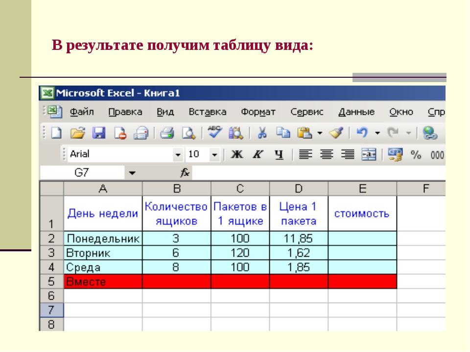 В результате получим таблицу вида: