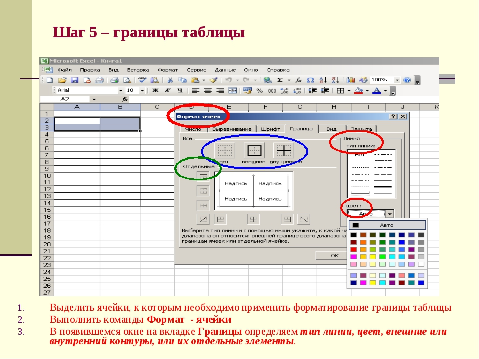 Шаг 5 – границы таблицы Выделить ячейки, к которым необходимо применить форма...