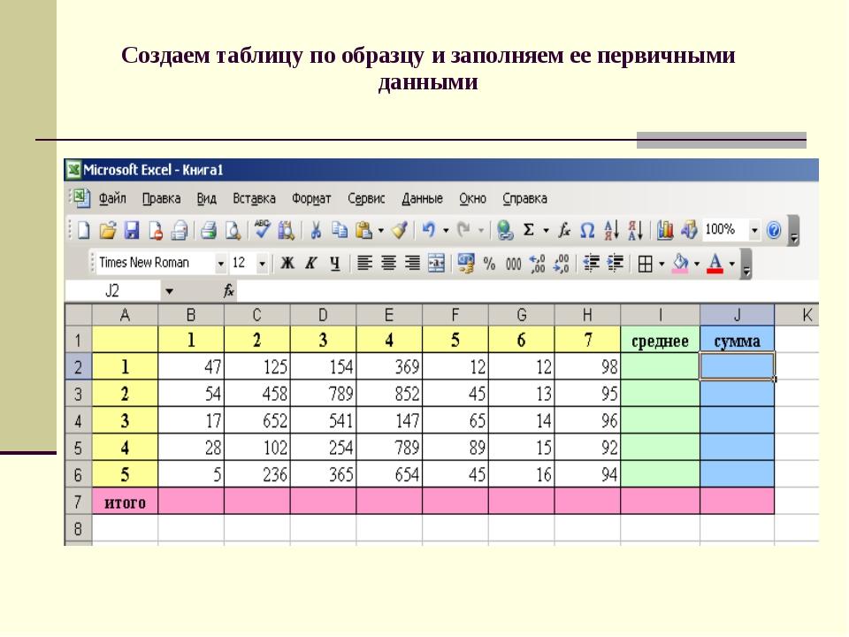 Создаем таблицу по образцу и заполняем ее первичными данными
