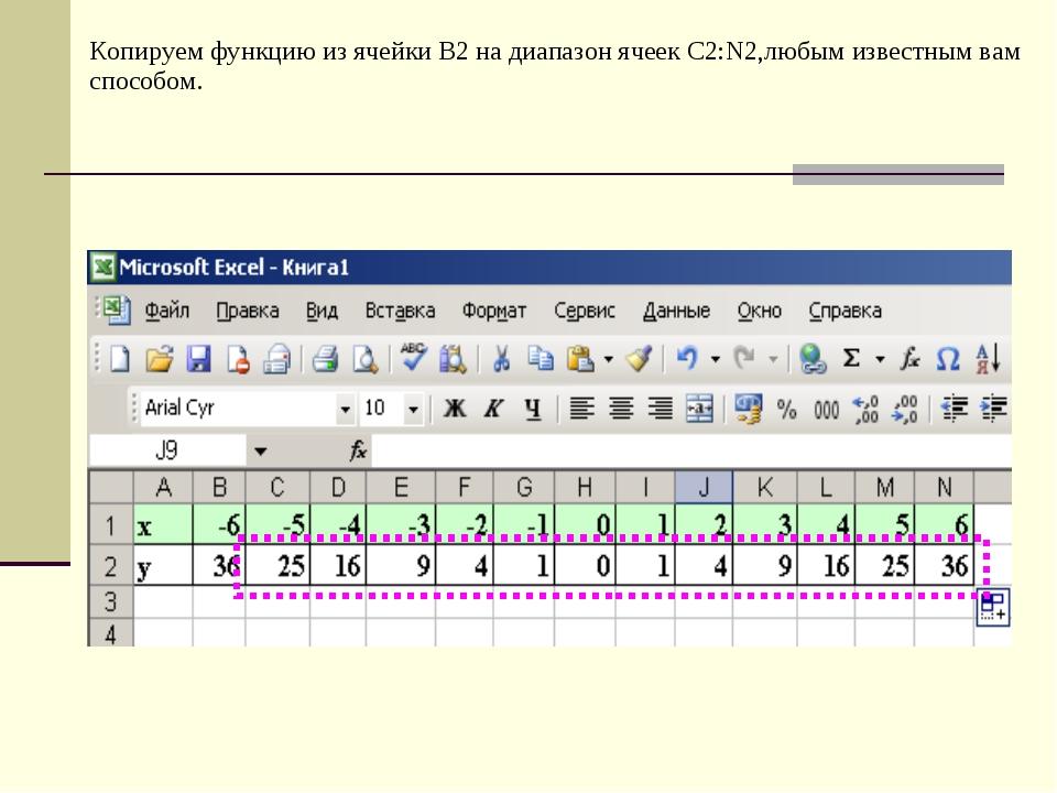 Копируем функцию из ячейки В2 на диапазон ячеек С2:N2,любым известным вам спо...