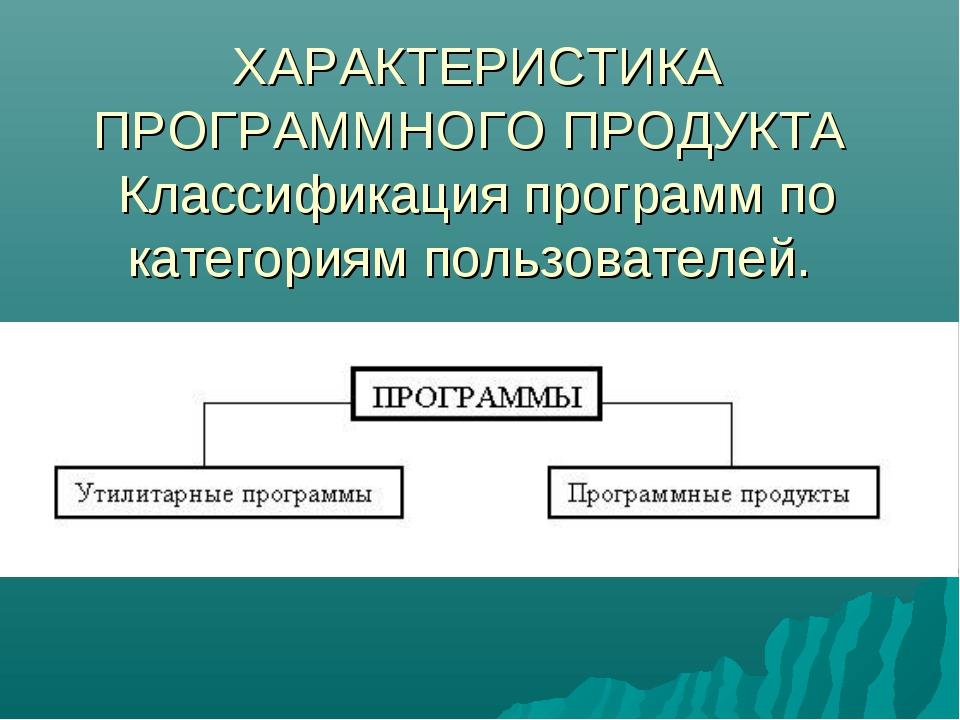 ХАРАКТЕРИСТИКА ПРОГРАММНОГО ПРОДУКТА Классификация программ по категориям пол...