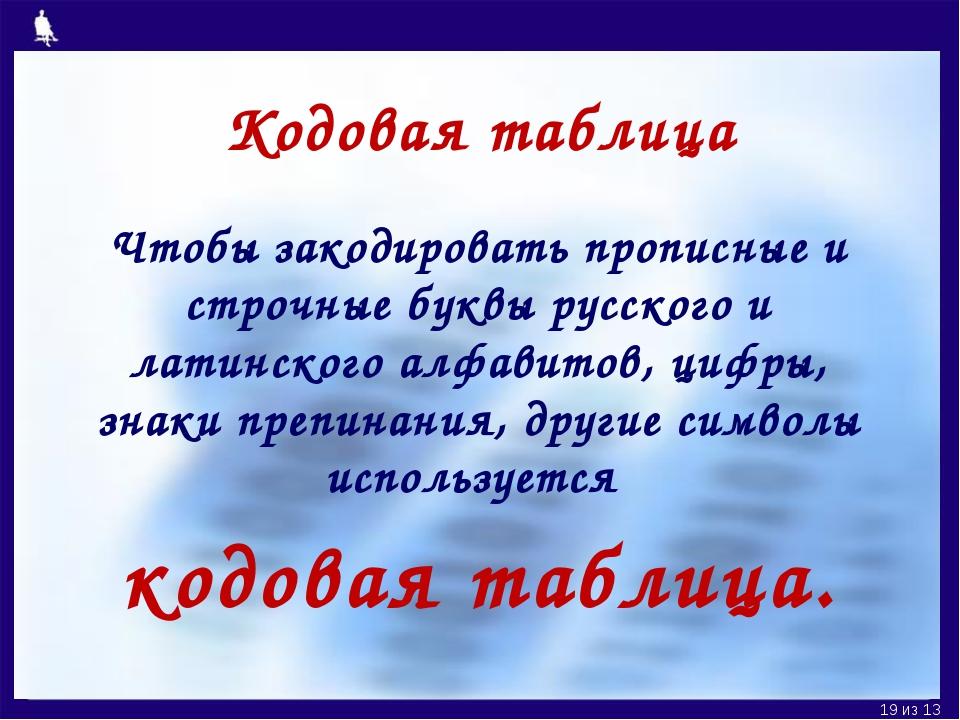 Кодовая таблица Чтобы закодировать прописные и строчные буквы русского и лати...