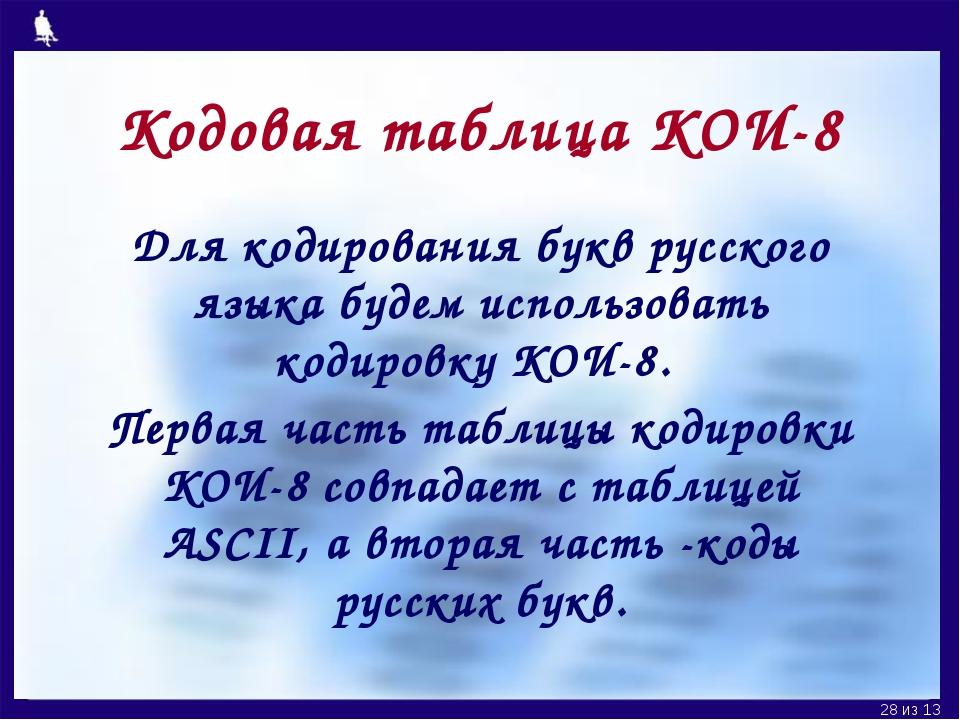 Кодовая таблица КОИ-8 Для кодирования букв русского языка будем использовать...