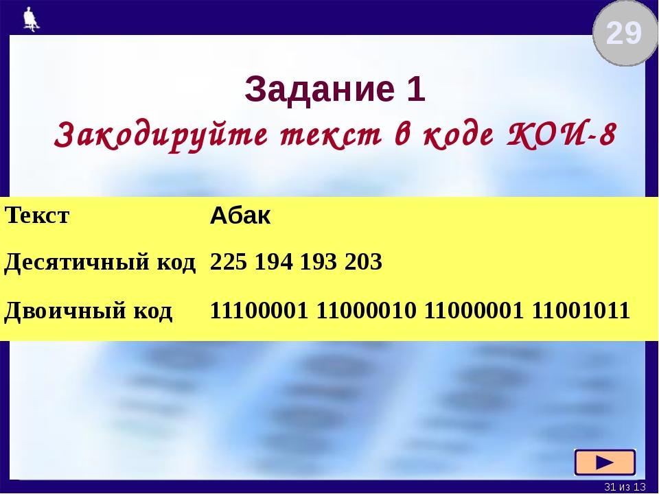 Задание 1 Закодируйте текст в коде КОИ-8 29 Текст Абак Десятичный код 225 194...