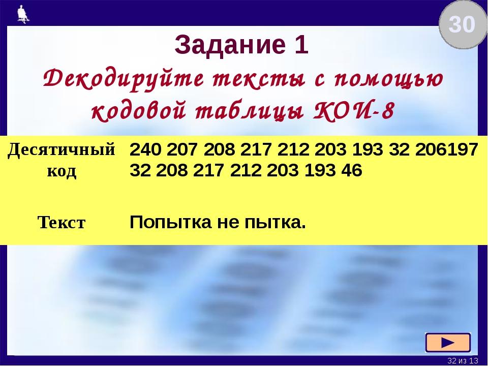 Задание 1 Декодируйте тексты с помощью кодовой таблицы КОИ-8 30 Десятичный ко...