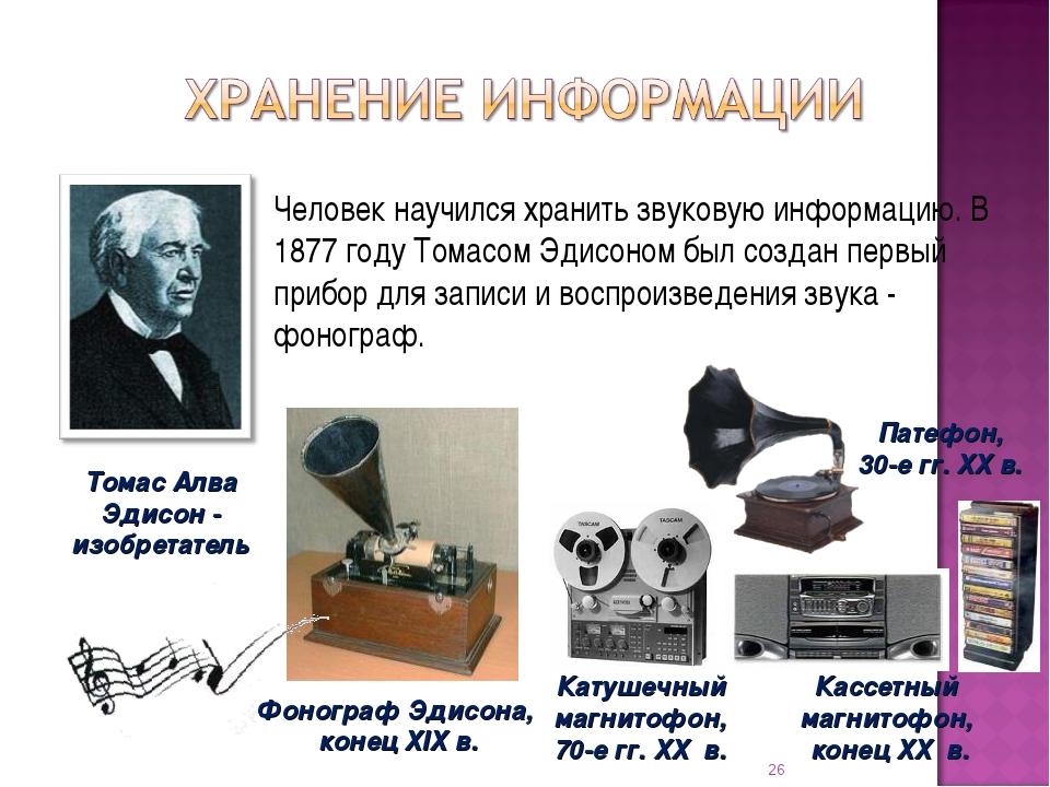 Человек научился хранить звуковую информацию. В 1877 году Томасом Эдисоном бы...