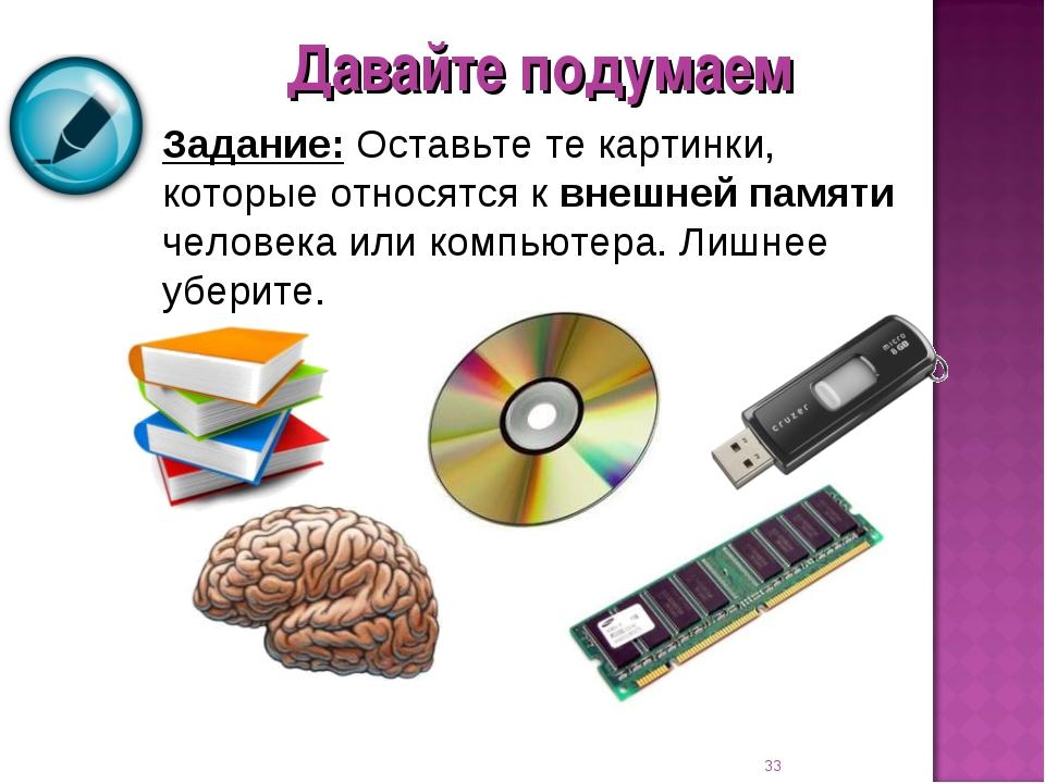 Задание: Оставьте те картинки, которые относятся к внешней памяти человека ил...