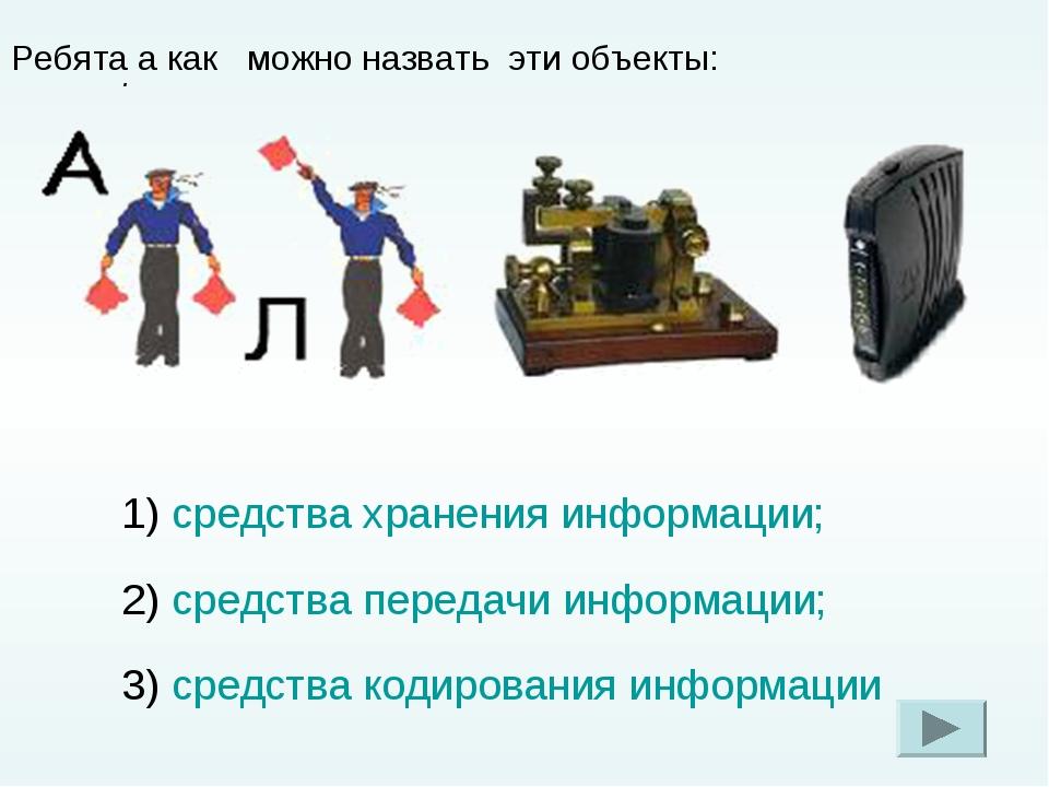 . Ребята а как можно назвать эти объекты: 1) средства хранения информации; 2)...
