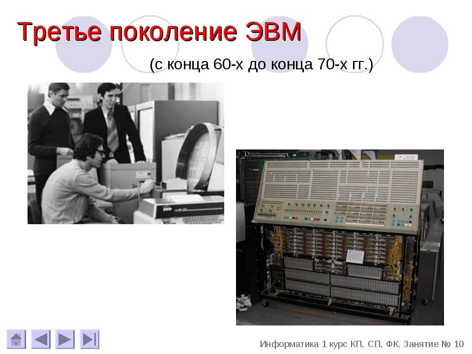(с конца 60-х до конца 70-х гг.) Третье поколение ЭВМ Информатика 1 курс КП,...
