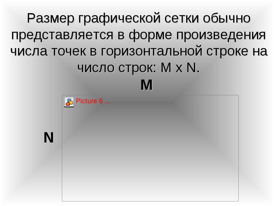 Размер графической сетки обычно представляется в форме произведения числа точ...