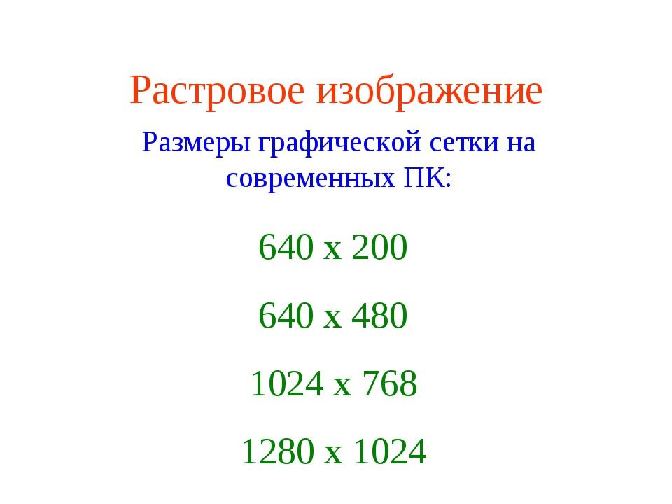 Растровое изображение 640 х 200 640 х 480 1024 х 768 1280 х 1024 Размеры граф...