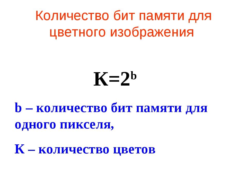 Количество бит памяти для цветного изображения К=2b b – количество бит памяти...