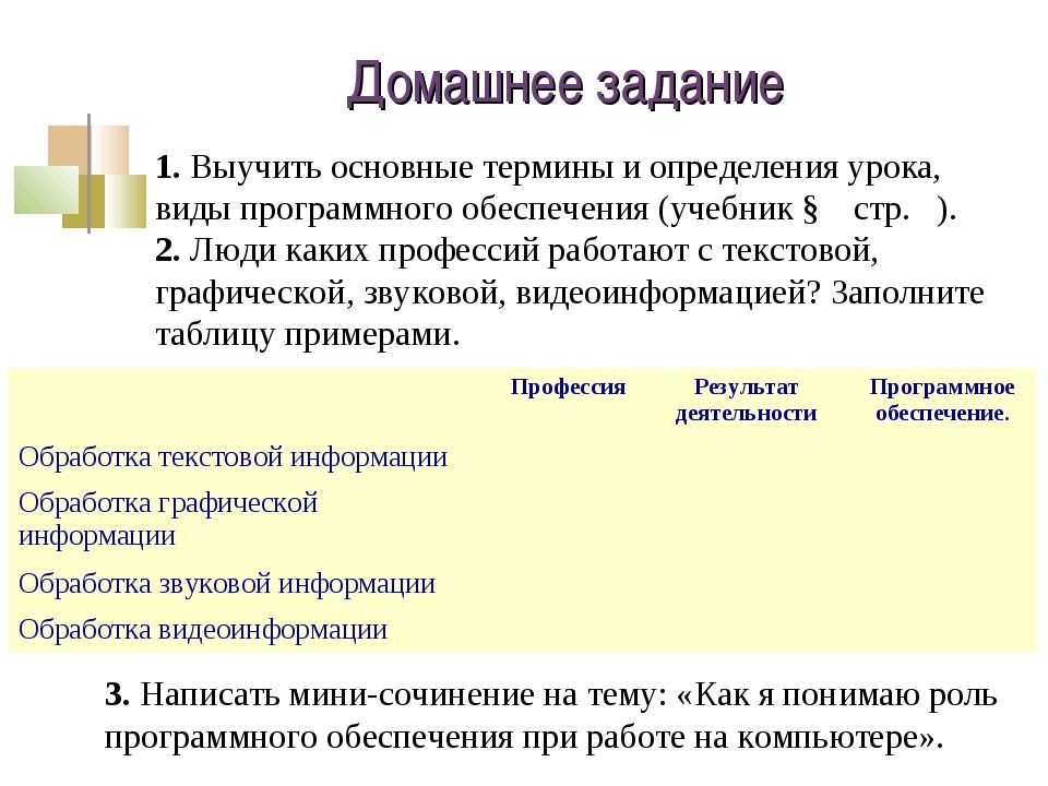 Домашнее задание 1. Выучить основные термины и определения урока, виды програ...