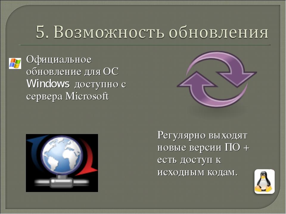 Официальное обновление для ОС Windows доступно с сервера Microsoft Регулярн...