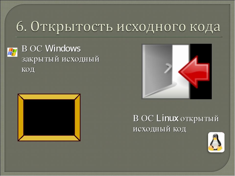 В ОС Windows закрытый исходный код В ОС Linux открытый исходный код