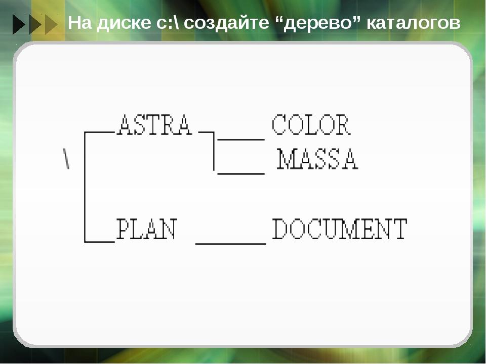 """На диске с:\ создайте """"дерево"""" каталогов"""