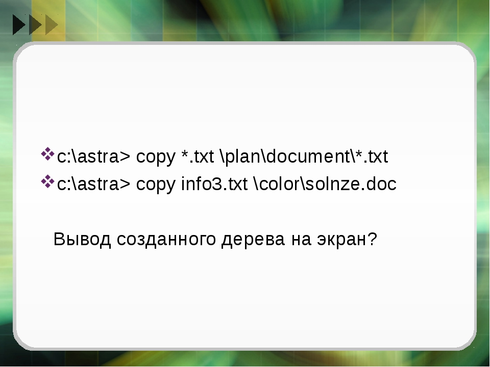 с:\astra> copy *.txt \plan\document\*.txt с:\astra> copy info3.txt \color\sol