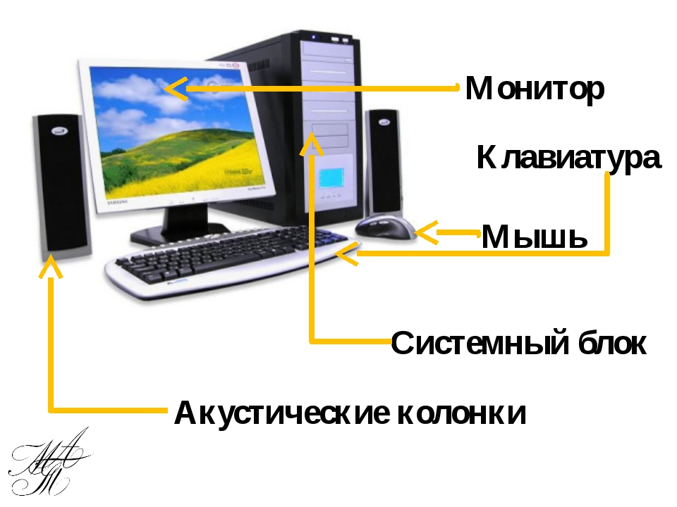 Монитор Клавиатура Мышь Системный блок Акустические колонки