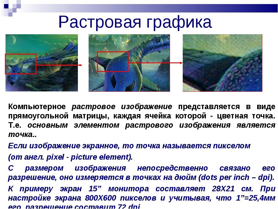 Растровая графика Компьютерное растровое изображение представляется в виде пр...