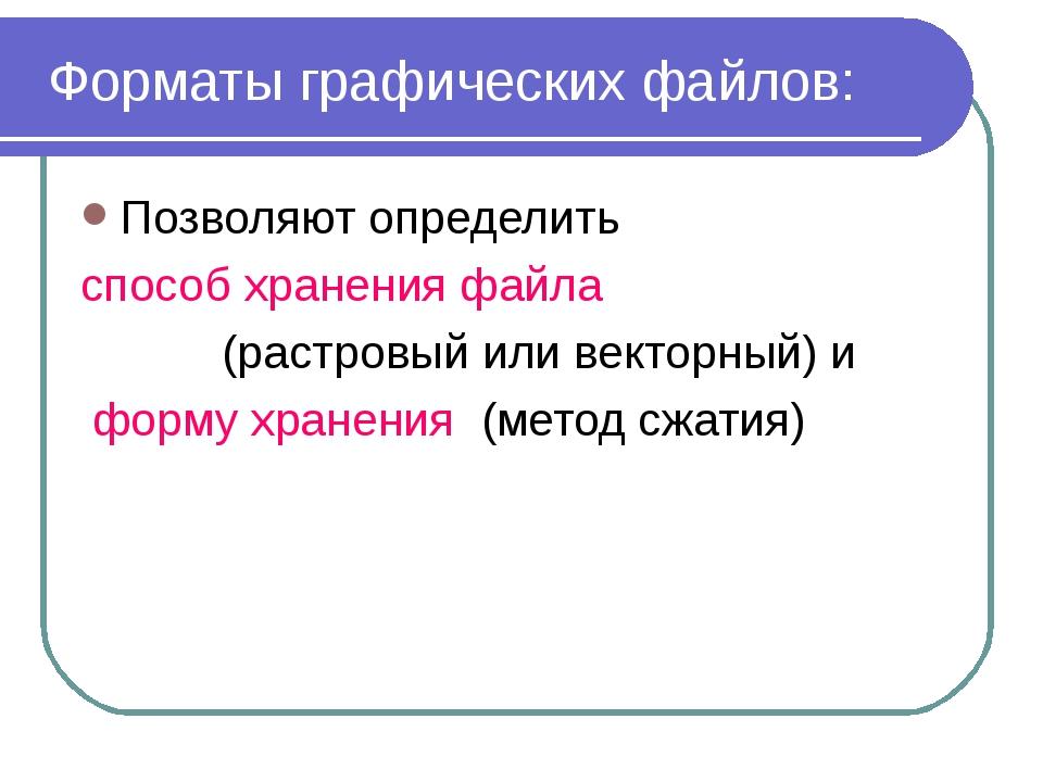 2010 Bolgova N.A. * Форматы графических файлов: Позволяют определить способ х...