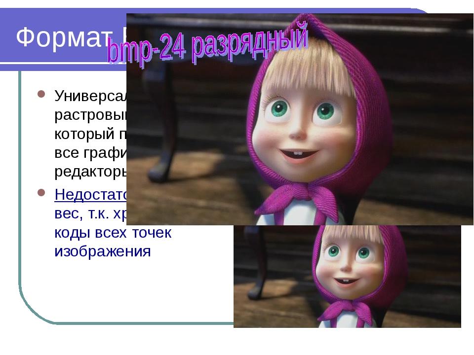 2010 Bolgova N.A. * Формат BMP Универсальный растровый формат, который понима...