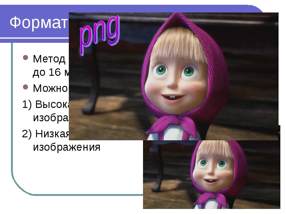 2010 Bolgova N.A. * Формат PNG Метод сжатия без потери данных (палитра до 16...