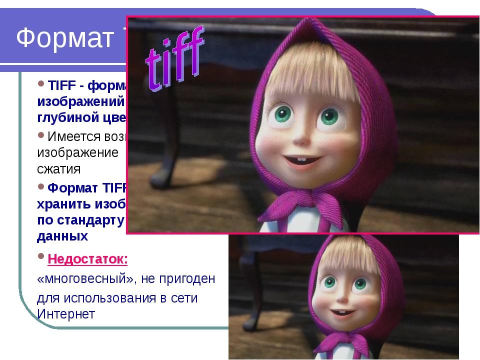 2010 Bolgova N.A. * Формат TIFF TIFF - формат для хранения изображений с боль...